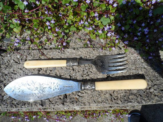 Stunning antique fish serving flatware set  Victorian 19th