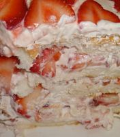 STRAWBERRY DELIGHT    Ingredients:     1 box of Angel Food Cake Mix   1 lg. tub of cool whip (16 oz) **I used Lite   1 jar of strawberry preserves (18...
