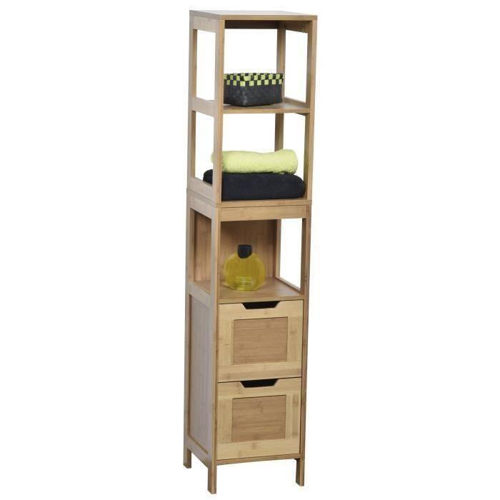 Meuble colonne de salle de bain en bambou salle de - Meuble de salle de bain bois exotique ...