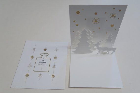 Set of 2 CHANEL Christmas Cards 3D X'mas Mini Card  CHANEL No.5 MINI Perfume Card by Sweeeties