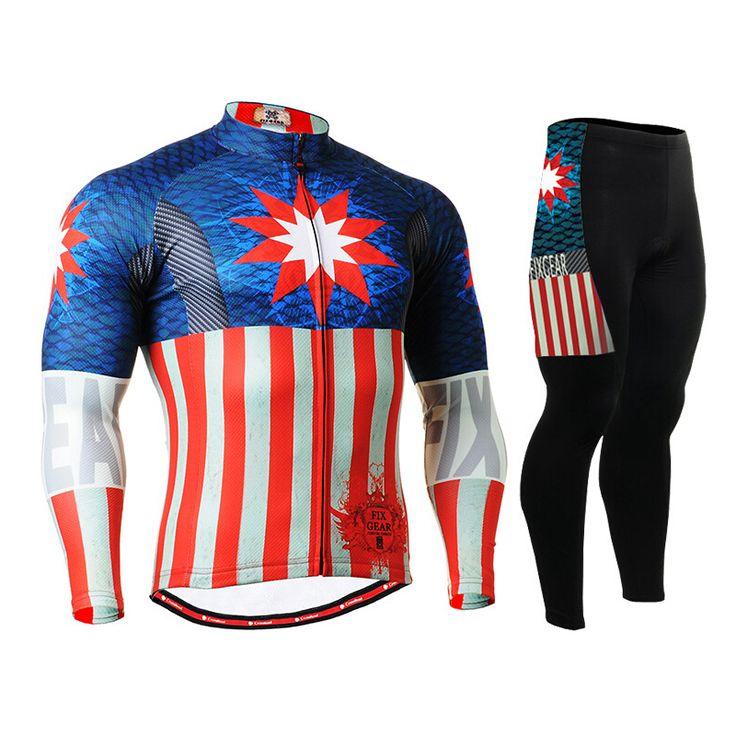 Hot Mens Captain America Cycling Jerseys Sets Avengers Bike Clothings Breathable Mountain Bike Long Sleeve Printing Sports Wears #Affiliate
