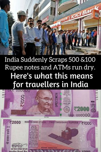 On the 9th November 2016, all currency denominations of 500 Rupees and 1,000 Rupees ceased to be legal tender in India in a sudden and surprise demonetization move by the Indian government as part of a crackdown on corruption, counterfeit currency and black money. Here's what this means for tourists and travellers in India