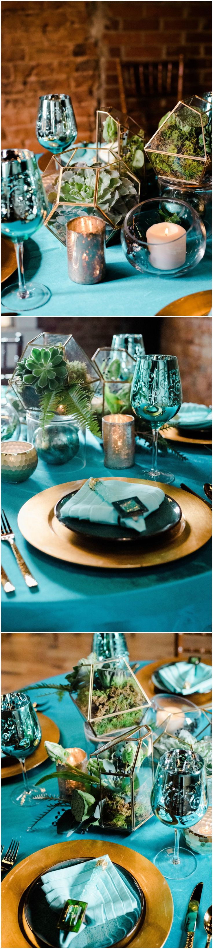 Bright teal tablecloths and napkins, eclectic indoor wedding reception decor, gold plates, natural centerpieces of mossy greens, succulents, candles // Katheryn Jeanne Photography