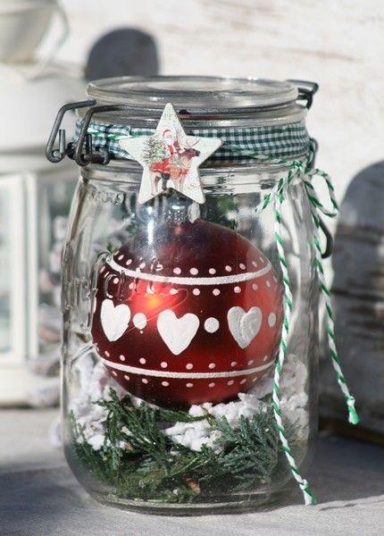 Weihnachtskugel im Weihnachtsglas / Schneegestöber von Deko-TU-Shop auf DaWanda.com