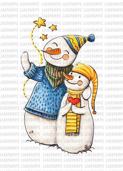 Digital stamp - Christmas snowmen . Christmas digital stamp.winter digital stamp. Vintage digital stamp. LiaStampz