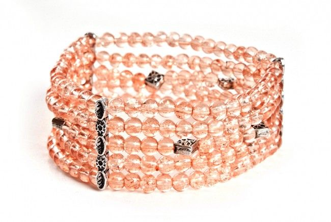 Bransoletka łososiowa – koraliki crackle - 5 strand crackle glass stretch bracelet http://corallia.pl/bransoletki/bransoletka-lososiowa-koraliki-crackle.html#.VNoI5i7Hg2g