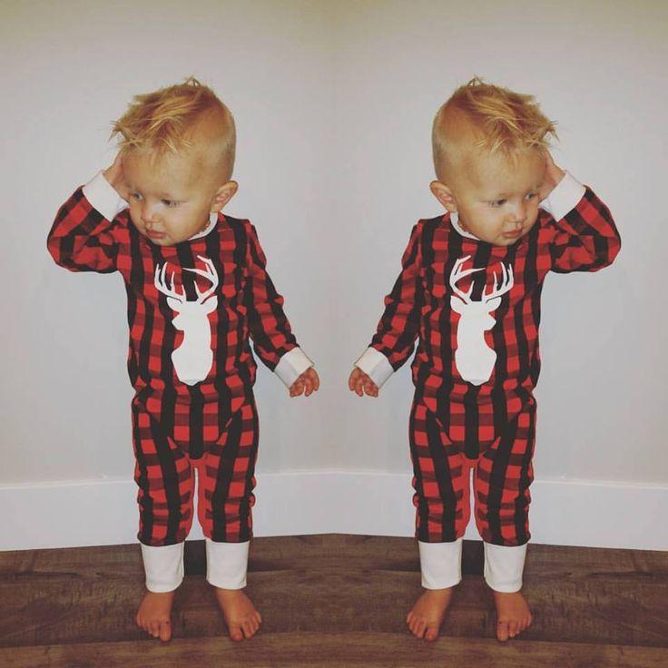 Trendy Christmas Jammies for little children.  Buffalo Plaid pajamas.  Christmas Pajamas.