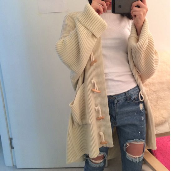 16 autumn Korean official site purchasing Japanese retro new horn button long lazy loose sweater coat