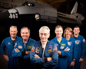 The first and last astronauts to fly on the space shuttle met Nov. 2 in Houston, Texas to pose for a series of historic photographs.