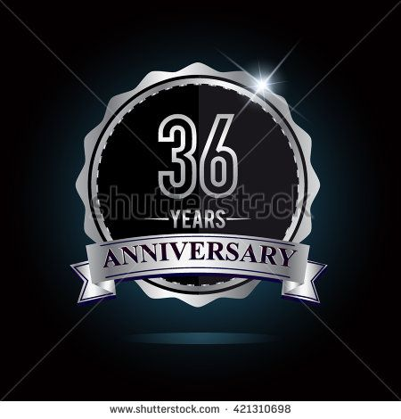 36th anniversary logo with ribbon. 36 years anniversary signs illustration. Silver anniversary logo with ribbon. - stock vector