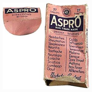 ASPRO - A pain reliever based on aspirin was developed in Melbourne by George Nicholas in 1917. By 1940 it had become the world's most widely used headache and pain treatment.