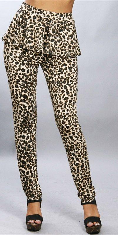Gorgeous Leopard Peplum Pant