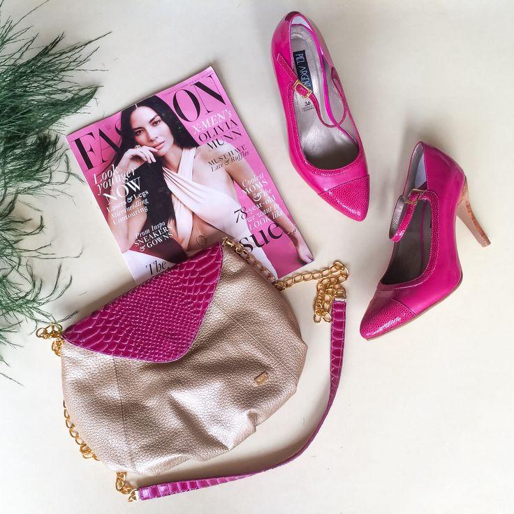 Zapatos y cartera en cuero Piel Argenta #pielargenta #tacones #carteras