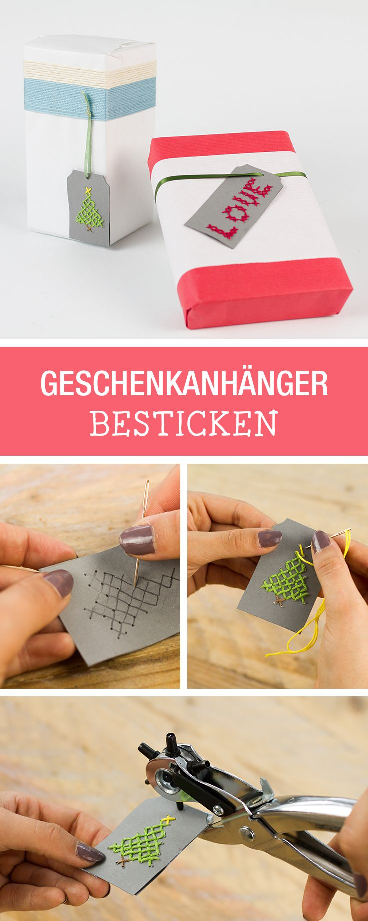 DIY-Idee für Heiligabend: Geschenkanhänger für Weihnachten besticken / stitch your gift tags for christmas via DaWanda.com