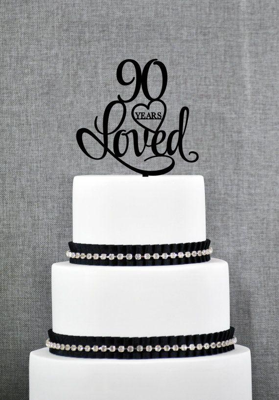 90 Years Loved Cake Topper, Classy 90th Birthday Cake Topper, Elegant Ninetieth Cake Topper- (S244)