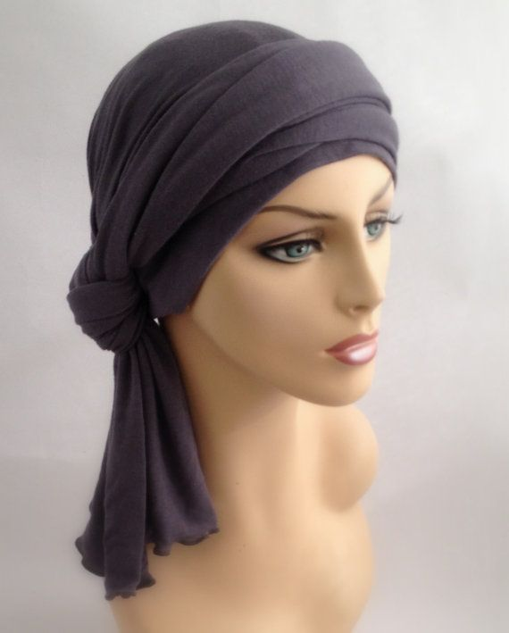 Gray Turban Jersey Chemo Hat Head Wrap Alopecia by TurbanDiva