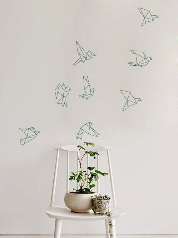 Flock of Flying Origami Birds Decal for Home Dorm by ZestyGraphics