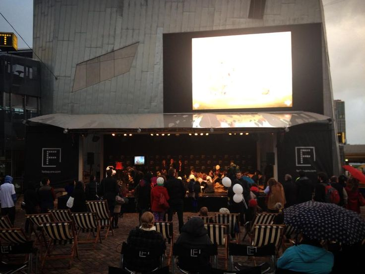 "#WindyHollowBooks #book, ""COWZAT!"" by Bruce Atherton up on the big screen at Fed Square in #Melbourne!"
