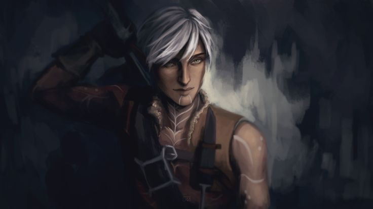 "saa-pandaleon: ""okay so fenris' outfit from world of thedas vol. 2 w/ his hair from da2 """