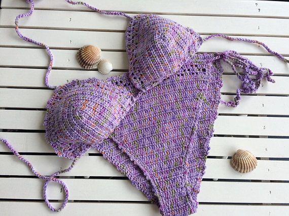 Crochet multicolor de bikini... bikini triángulo... traje de
