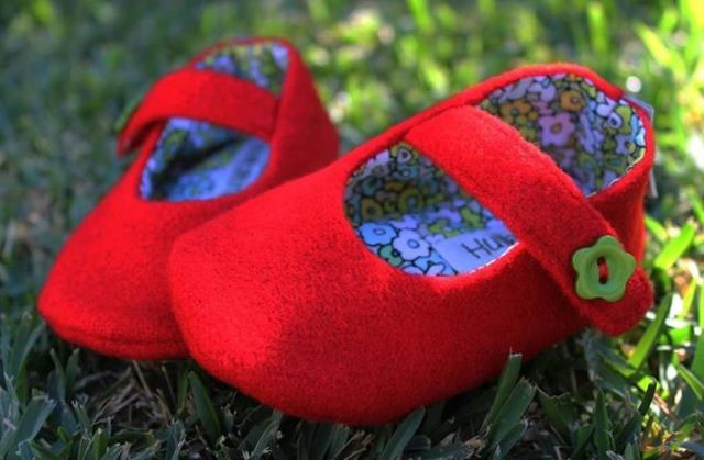 Red wool Mary Janes. Available sizes newborn to 24months. $15,00