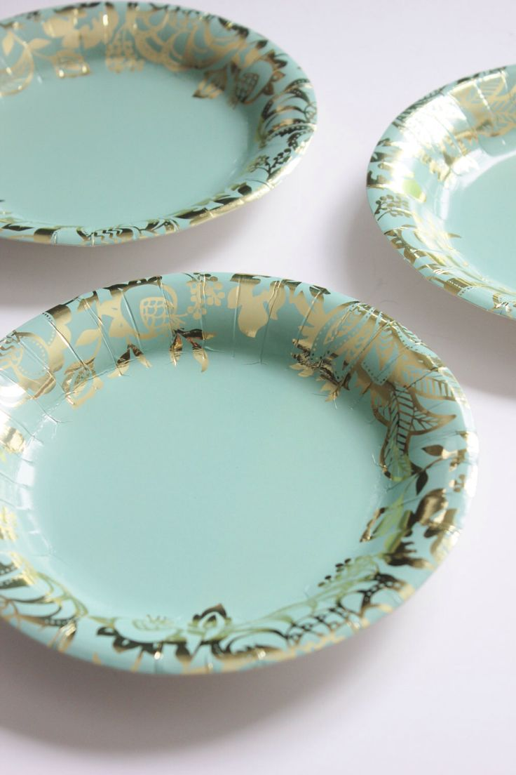 32 FLORAL TEA PARTY Mint Paper Plates Gold Parisian Vintage Style Shabby Chic Garden Tea Time Mint Green Pink Seafoam French Paris Shower by DesignsByEmbellish on Etsy https://www.etsy.com/listing/268593277/32-floral-tea-party-mint-paper-plates