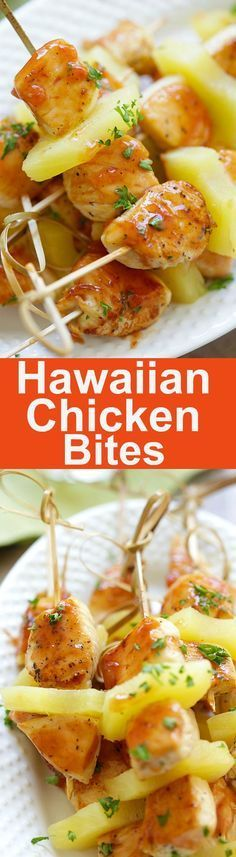 Hawaiian Chicken Bites – amazing chicken skewers with pineapple with Hawaiian BBQ sauce. This recipe is so easy and a crowd pleaser