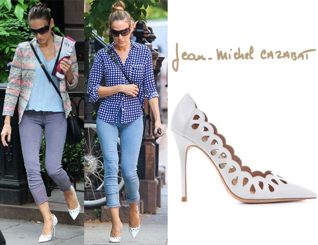SJP with a casual look mixed with cute jackets and Jean Michel Cazabat Elba Pumps in white. Sarah wears MiH Bonn jeans and folds them up to give a cropped style and show off the fab pumps with pretty cut outs!