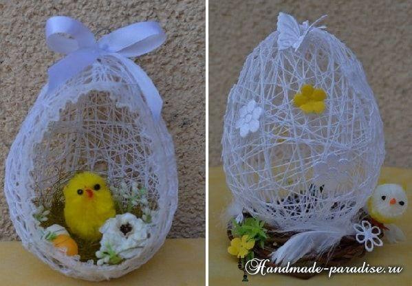 Декоративные пасхальные яйца из ниток (16)