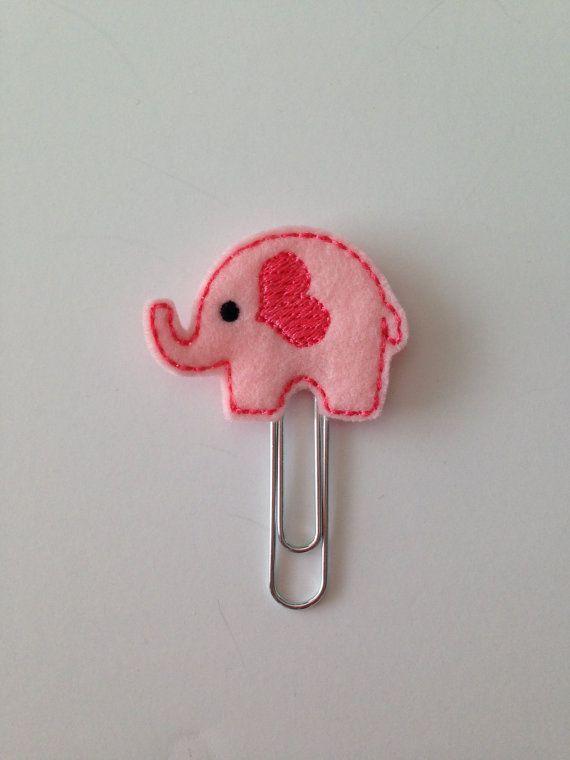 Felt Elephant Paperclip Cute Pink Elephant by PigtailsandPockets