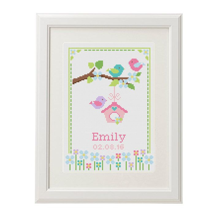 Baby Cross Stitch pattern baby announcement Bird Flower Animal Romantic Modern Customize Cross Stitch Birth Record chevron new baby girl by AnimalsCrossStitch on Etsy https://www.etsy.com/uk/listing/387447754/baby-cross-stitch-pattern-baby More