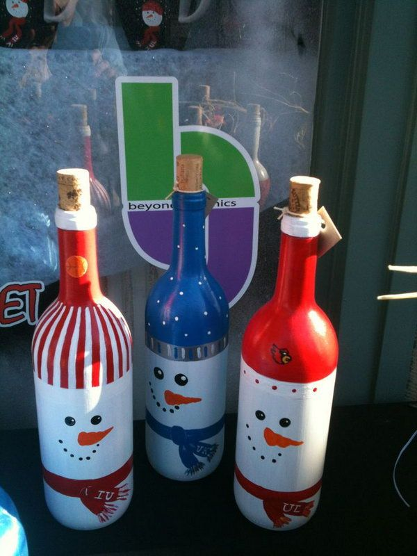 snowman painted wine bottles, Cool Snowman Crafts for Christmas, http://hative.com/cool-snowman-crafts-for-christmas/,
