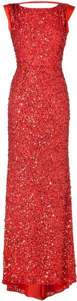 Jenny Packham Red Sequin Long Dress
