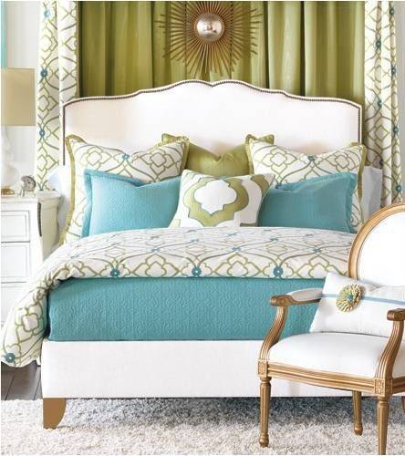 Art Deco Master Bedroom with Pier 1 Amelie Curtain, Frontgate - Bradshaw Duvet Cover, Hardwood floors, High ceiling