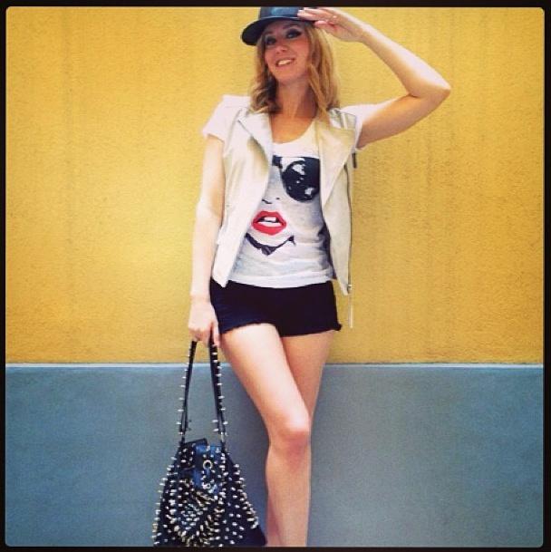 "Elena Barolo wears ""Glass"" T-shirt"