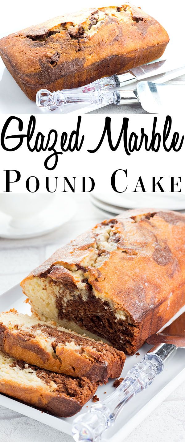 This recipe for Glazed Marble Pound Cake is a dense and indulgent bakery style cake that's perfect for dessert or coffee break treat. via @Erren's Kitchen