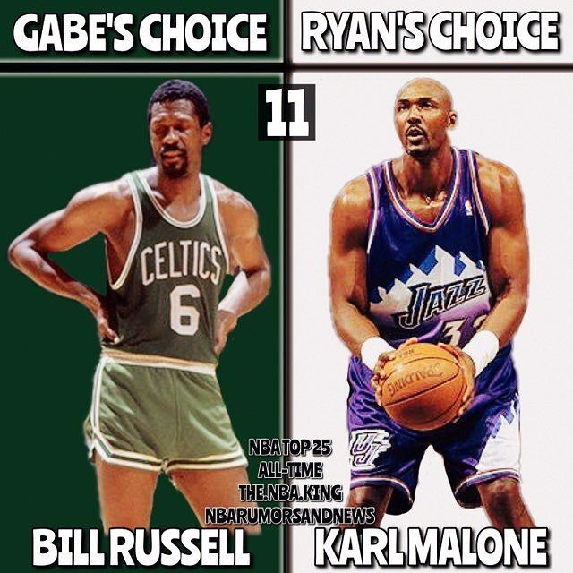 TOP 25 NBA PLAYERS OF ALL TIME ft @the.nba.king  Name : Bill Russell/Karl Malone Team : Celtics/Jazz Positions : C/PF ALL-TIME RANK : 1️⃣1️⃣ - Who do you agree with? COMMENT BELOW ⬇️⬇️⬇️ LISTS SO FAR: RYAN: 11)Karl Malone 12)Oscar Robertson 13)Bill Russell 14)Julius Erving 15)John Stockton 16)Dwyane Wade 17)Dirk Nowitzki 18)Allen Iverson 19) Isiah Thomas 20)Pete Maravich 21)Steve Nash 22)Elgin Baylor 23)Kevin Garnett 24)Charles Barkley 25)Clyde Drexler  GABE: 11)Bill Russell 12)Tim Duncan…