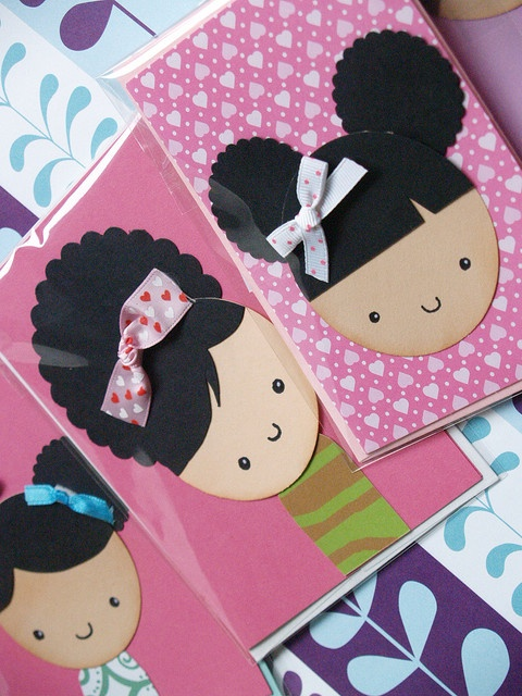 cute punch-art cards... would be fun to make with the kids!