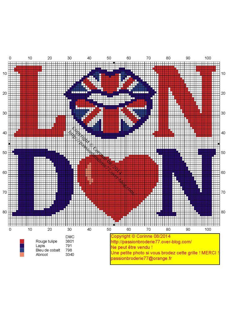 London Union Jack lips x-stitch