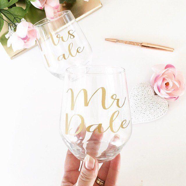 A set of mr and mrs stemless wine glasses heading out in gold #wine #wineglass #stemlesswineglass #gold #mrandmrs #weddinggift #weddingday #bride #groom #wife #hubby #firstoast #weddinghour #weddingblog #weddingseason #etsy #etsyseller #etsyuk #etsylove #etsysmallbusiness #etsywedding #shopsmall #handmadeuk http://gelinshop.com/ipost/1523801220438269466/?code=BUloSL0h54a