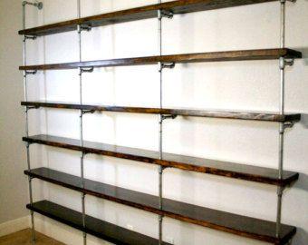 Wood Shelving Unit Wall Shelf Industrial by WoodYouRepurpose