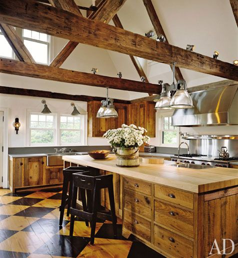 wood breams  Nantucket Architecture Group in AD.Kitchens Interiors, Dreams Kitchens, Expo Beams, Rustic Kitchens, Painting Wood Floors, House, Country Kitchens, Architecture Digest, Wood Beams