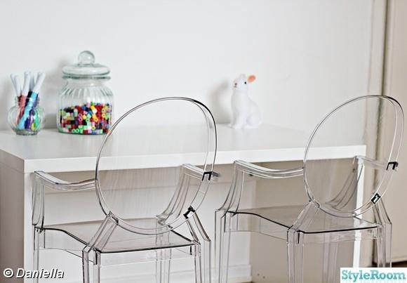 kartell, lou lou ghost chair, skrivbord, barnrum