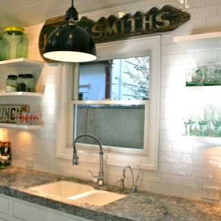 White subway tile with marble grey granite.......