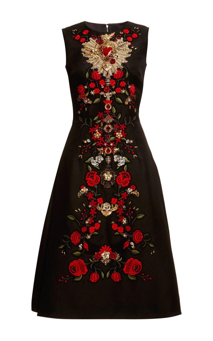 Sleeveless Gazar Embellished A-Line Dress by Dolce & Gabbana for Preorder on Moda Operandi