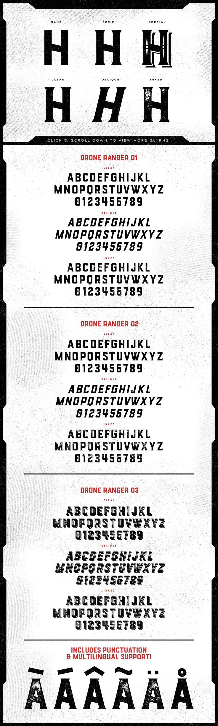 Drone Ranger Display Font -  Drone Ranger is a geometric display family that includes 9 various styles for your designing needs. Included in the family is a Sans version, a Serif version, and a Special Decorative version, and each of these have their own clean, oblique, and inked styles. by Vintage Type Co. $18 #typeface #affiliatelink