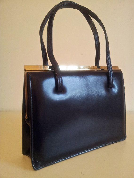 kelly bag hermes and birkin bag - True vintage 1960s leather handbag, navy blue kelly bag. Widegate ...