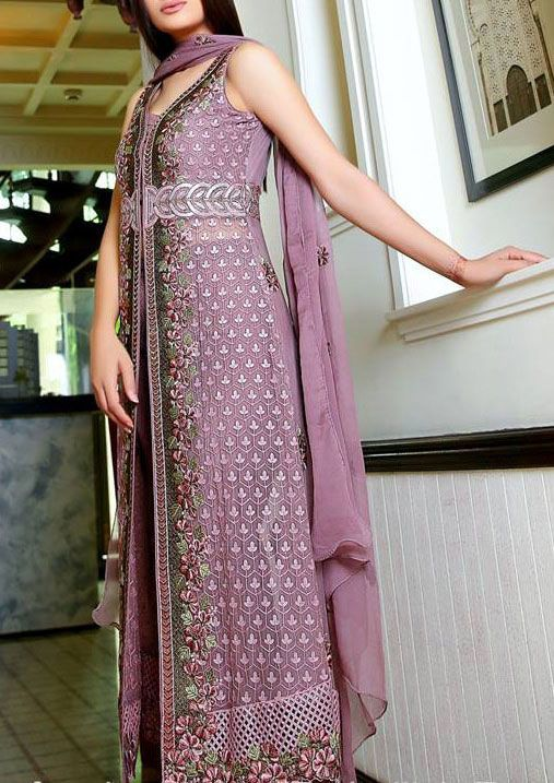 Buy Lilac Embroidered Chiffon Dress by Embellish 2015.
