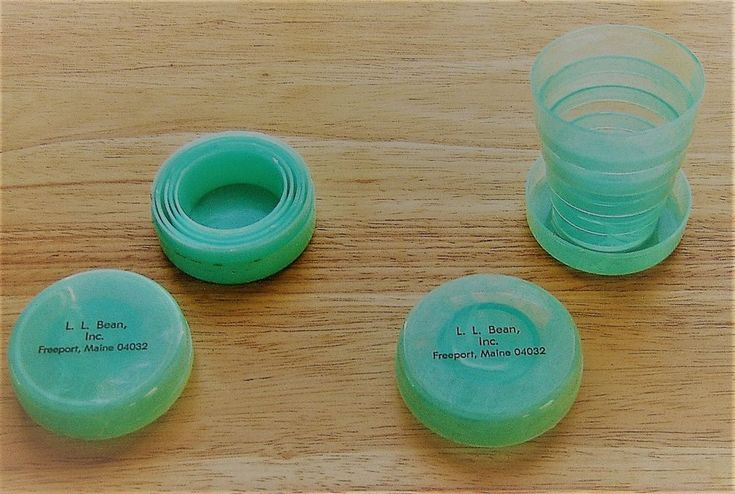 L L Bean Collapsible Travel Cup Pill Box Plastic Drinking Glass Marbleized #LLBean