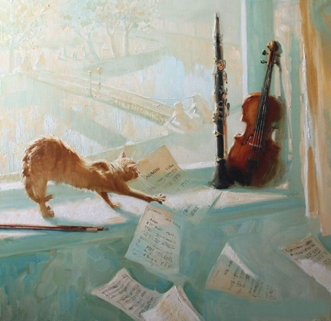 Cute Musicians: Maria Pavlova Paintings - AmO Images - AmO Images